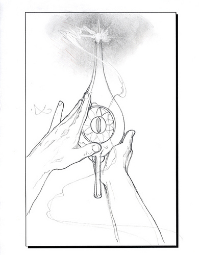 Disney - Aladdin - John Alvin - Aladdin Rubbing the Lamp Sketch - original production concept drawing