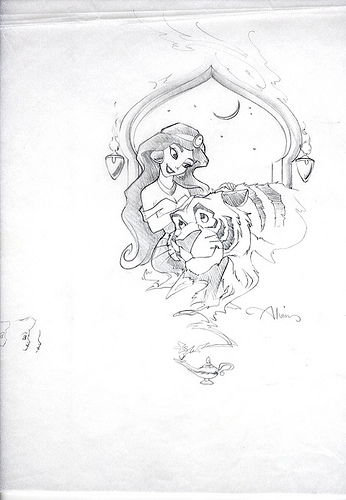 Disney - Aladdin - Aladdin Jasmine & Tiger - original production concept drawing