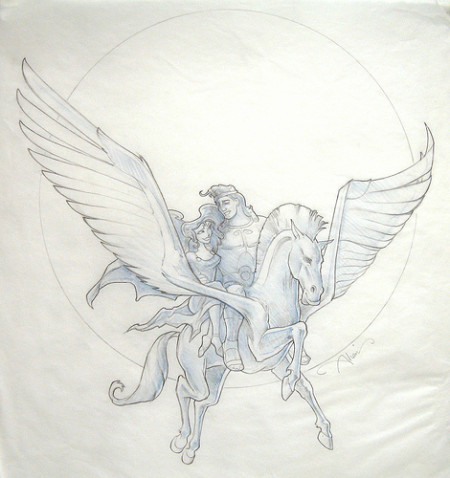 Hercules, Meg and Pegasus - original production concept art