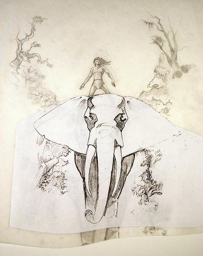 Tarzan and Elephant concept