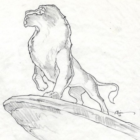 Lion King on Outcropping - original production concept art