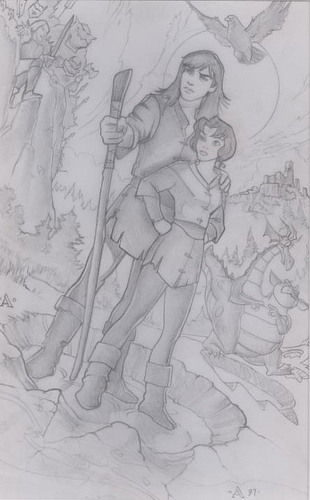 Quest for Camelot Boy and Girl - original production concept art