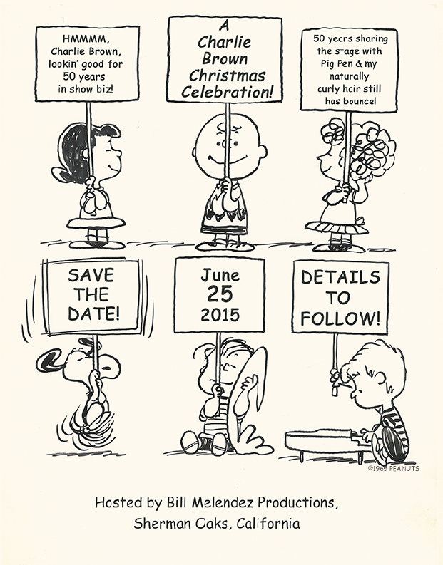 invitation to Peanuts celebration of 50th anniversary of Charlie Brown Christmas special